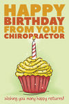 Happy Birthday from your Chiropractor - Wishing you many happy returns (cupcake)